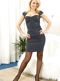 Beautiful blonde ready for a night out in a slinky dress..