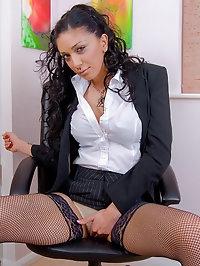 Sexy Secretary Mai Bailey in Fishnet Stockings Spreads her..