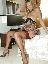 Blonde looks mesmerizing in stockings